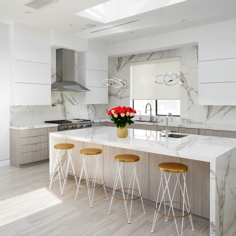White Marble Open Concept Kitchen & Dining