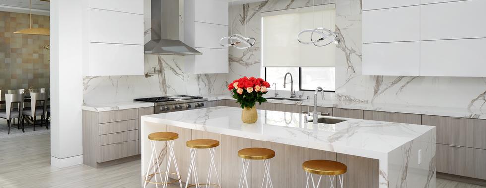 Open Concept White Marble Kitchen