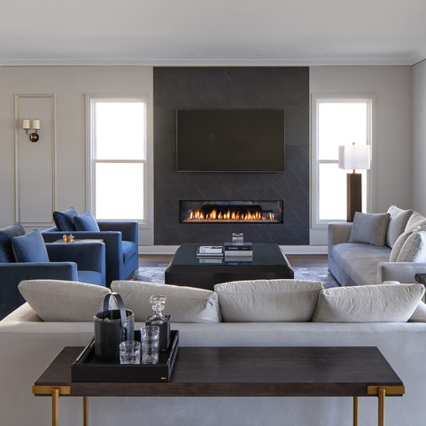 Open Concept Family Room with Stone Fireplace Wall