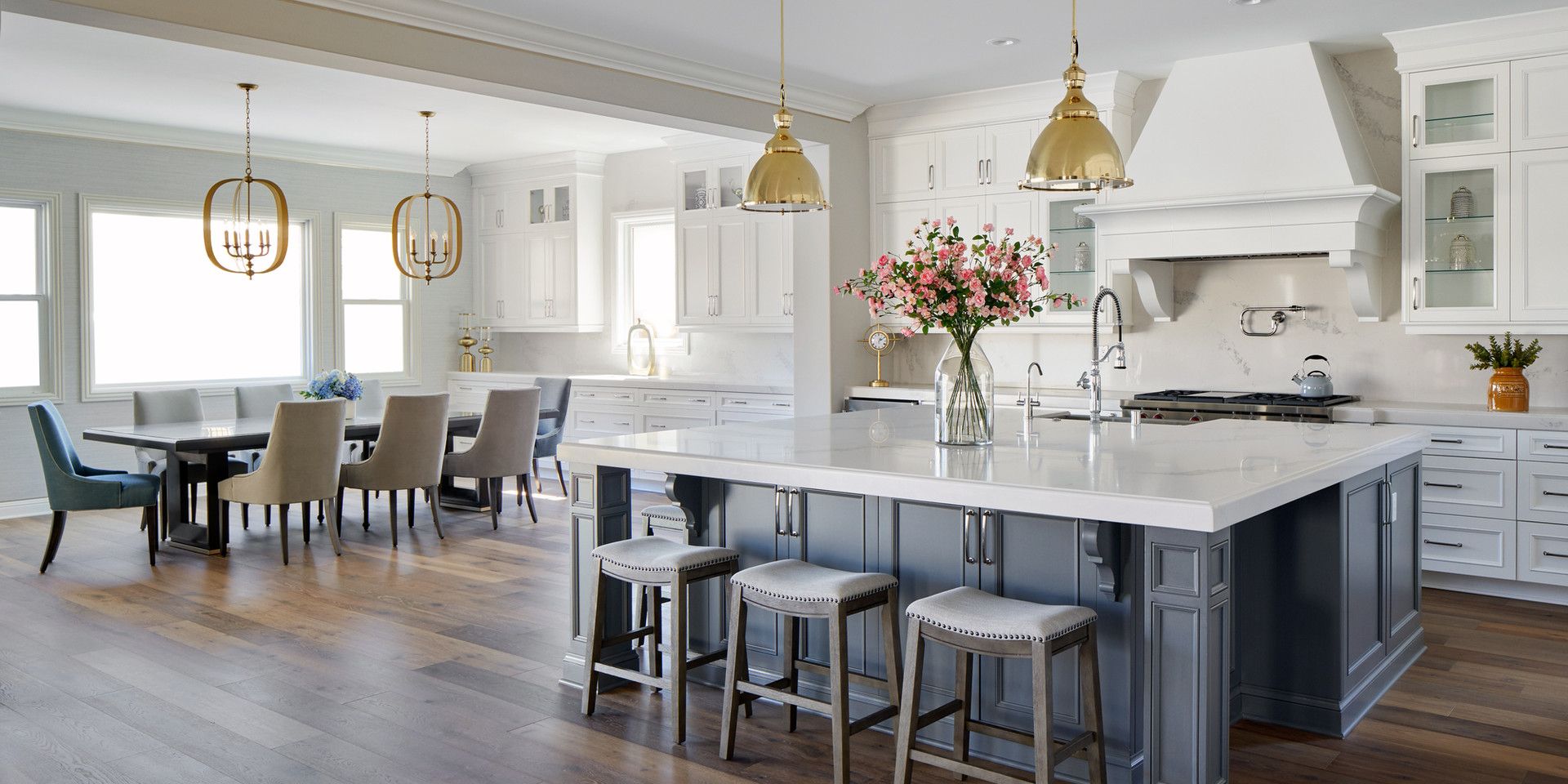 Open Floor Plan Transitional White Kitchen Dining