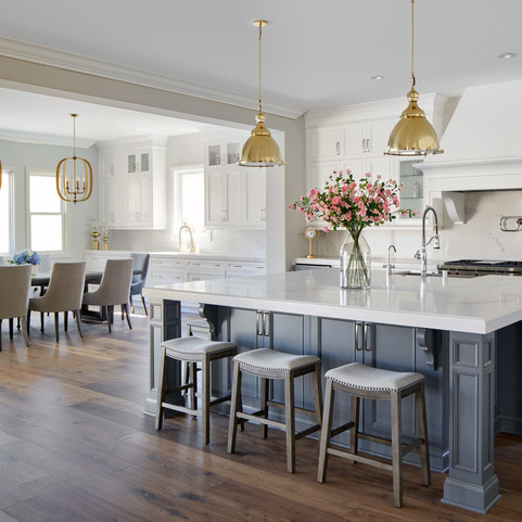 Open Space White Marble Kitchen & Dining