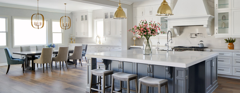 Open Floor Plan Transitional White Kitchen Dining