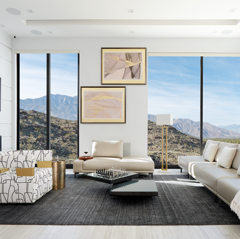 Open Concept Modern Family Living Room with View