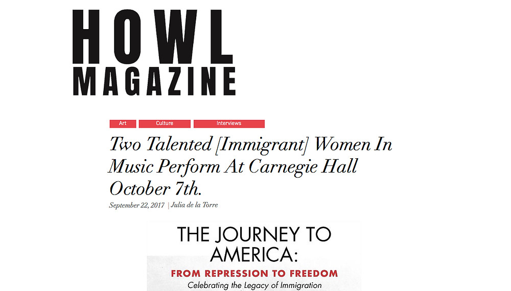 Read Article Here: https://www.howlnewyork.com/single-post/2017/09/23/Two-Amazing-Women-In-Music-Perform-At-Carnegie-Hall-October-8th