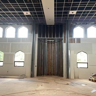 Prayer hall -mihrab under construction