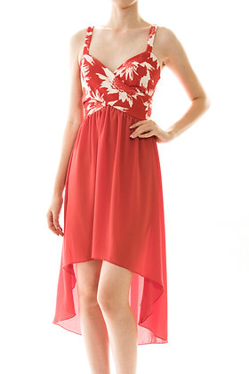 Coral Flower High-Low with Chiffon Bottom