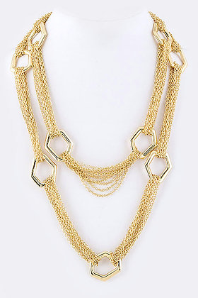 Rings Station Long Dual Chain Necklace