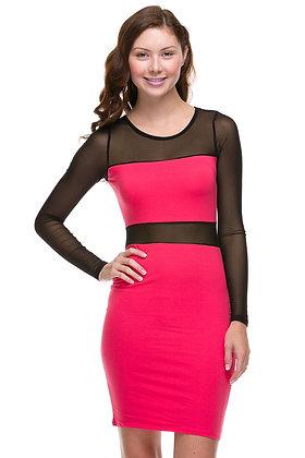 Hot Pink Mesh Sleeve Dress