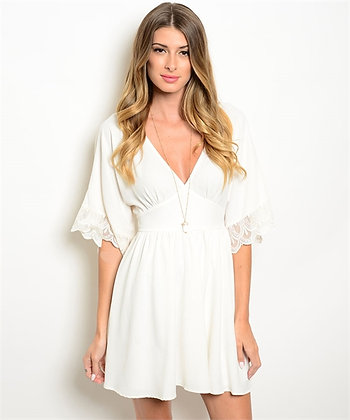 Ivory Babydoll Dress with Lace Sleeves