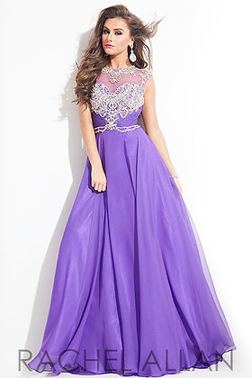 RACHEL ALLAN Purple High Mesh Neckline
