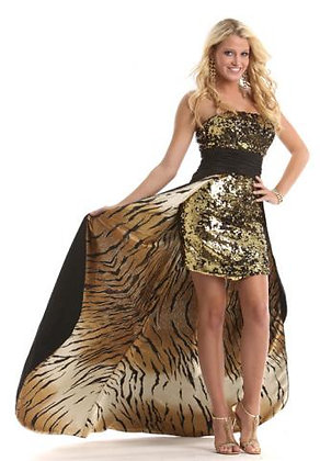Tiger Print High Low, Black and Gold Sequins