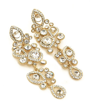 Gold Crystal Rhinestone Earrings