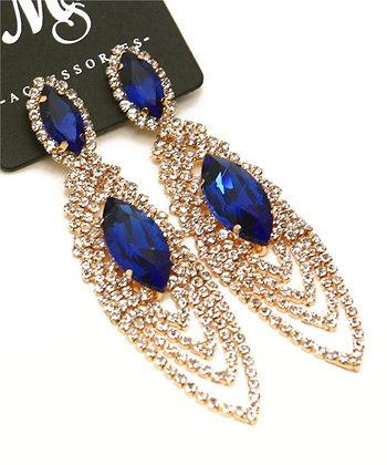 Sapphire Blue Stone Dangle Earrings