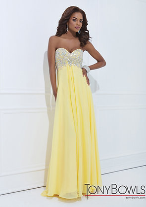 TONY BOWLS Lemon Yellow Sweetheart Gown
