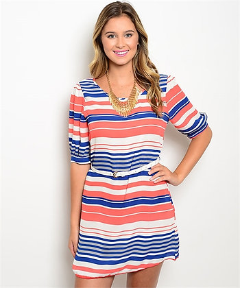 Coral & Royal Pinstripe Belted Dress
