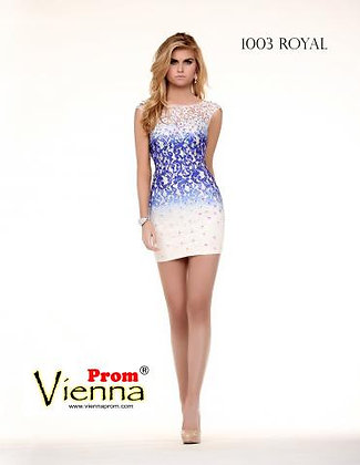 Royal Blue Lace Ombre, Cap Sleeves