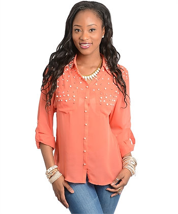 Coral Button Down with Rhinestones