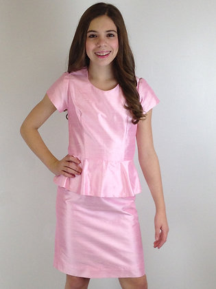 Girls Pink Peplum Dupioni Dress