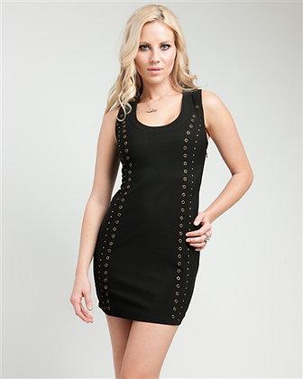Black Grommet Lace-Up Dress