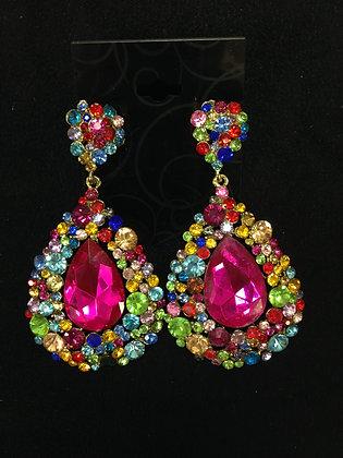 Large Rainbow Teardrop Earrings