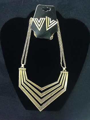 Gold Arrow Necklace and Earrings