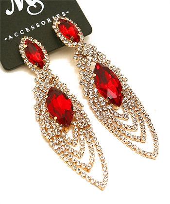 Red Stone Dangle Earrings