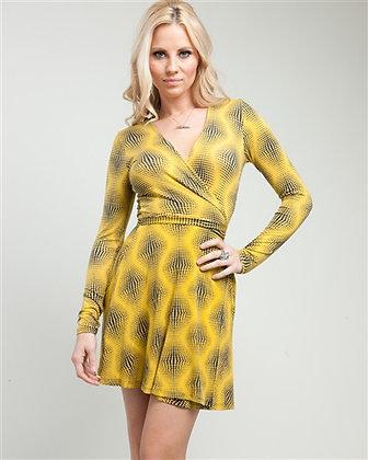 Yellow Illusion Wrap Dress