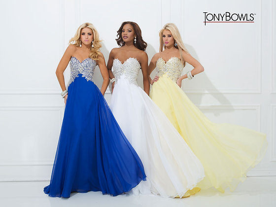 TONY BOWLS Royal Blue Sweetheart Gown