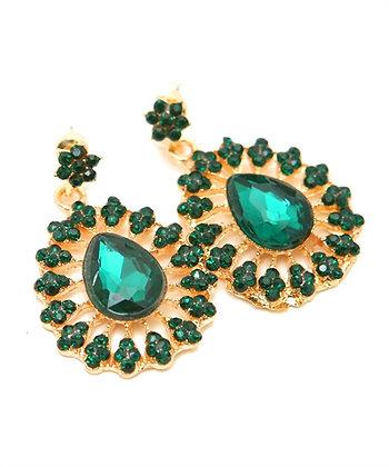 Green Circle Earrings