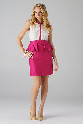 Pink and White Peplum Waisted Dress