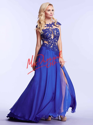 MAC DUGGAL Cobalt Lace and Nude