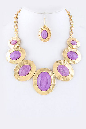 Lavender Oval Stone Necklace with Earrings