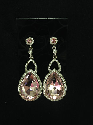 Rhinestone and Pink Teardrop Earrings