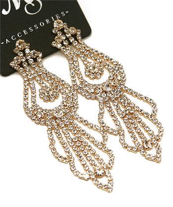 Chained Rhinestone Dangle Earrings