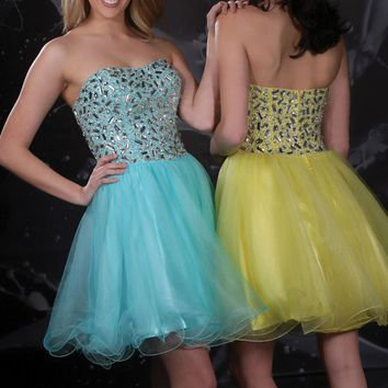 Yellow Rhinestone Babydoll Dress