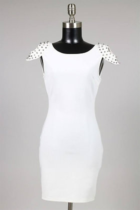 White Spiked Cap-Sleeve Dress