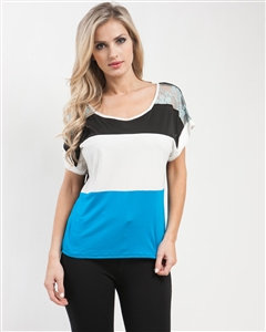 Blue Colorblock Tee with Lace Shoulder