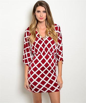 Burgundy and White Diamond Cross Dress