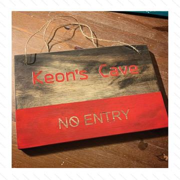 'Keon's Cave' Bedroom Sign