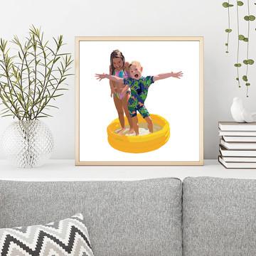 'Yellow Paddling Pool' Framed