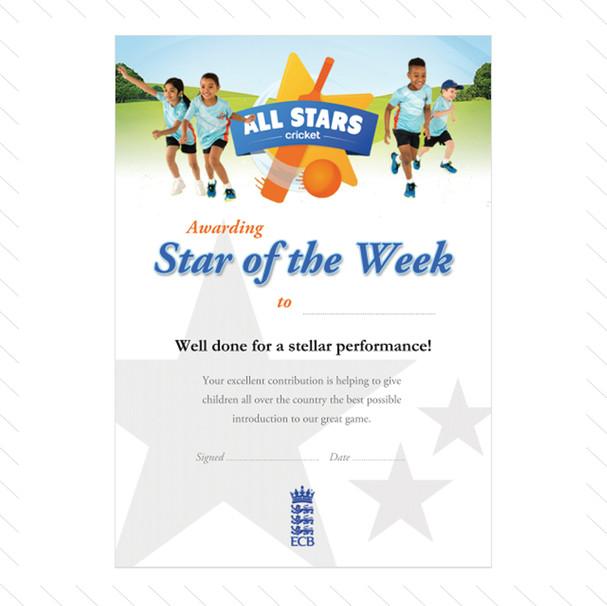 'Star of the Week' Certificate