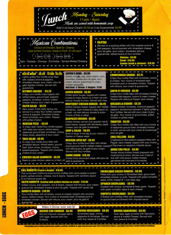 Zapatas Lunch Menu