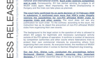 Court confirming the injunction of the VDH SV Judge Ban