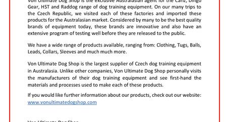 2019 Team Australia | Von Ultimate Dog Shop