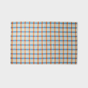 Plaid Wool Rug - Sky