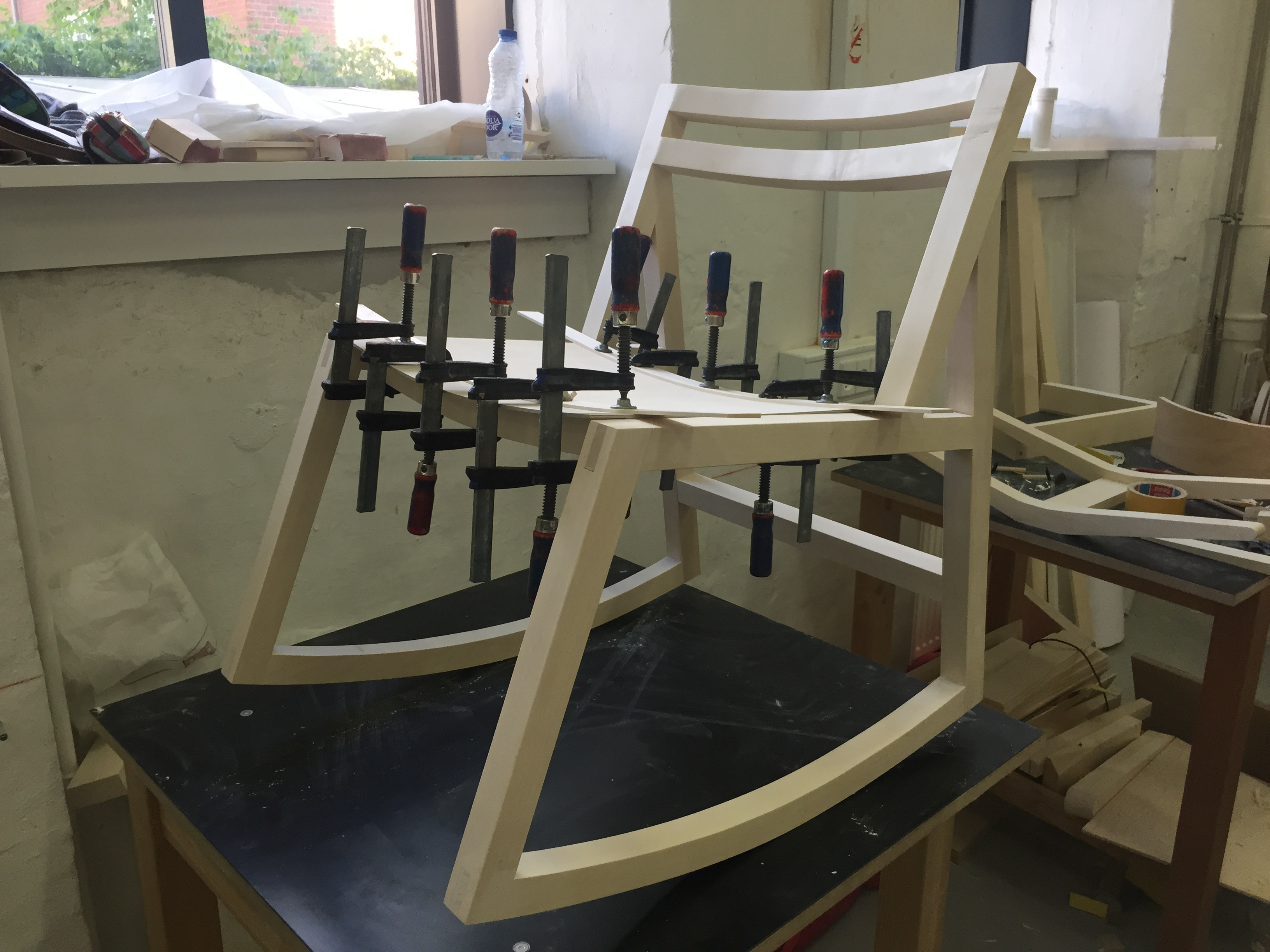 gluing on the seat