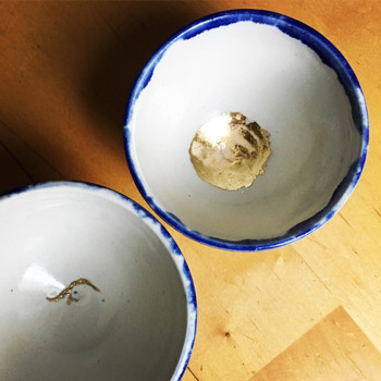 kintsugi inspired tea cups (thrown by Natalie Thomas, trimmed by myself)