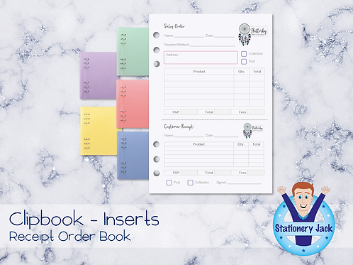 A5 Inserts - Receipt Order Book