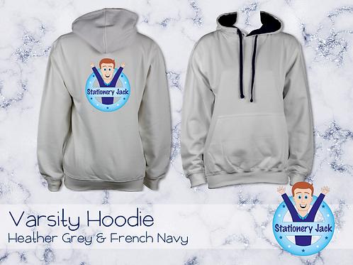 Varsity Hoodie - Heather Grey & French Navy