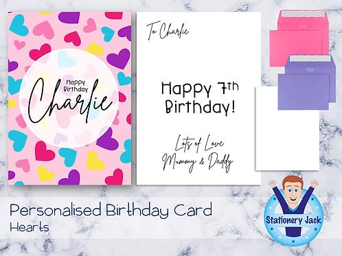 Birthday Card - Hearts